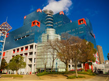 OSAKA JAPONIA, LIPIEC, - 02, 2017: Duży budynek w Osaka, Japonia pejzaż miejski w Abeno okręgu Zdjęcie Stock