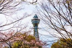Osaka, JAPONIA - OKOŁO Kwiecień, 2019: Tsutenkaku wierza jest punktem zwrotnym, reklamuje Hitachi, Japonia i, basztowym i słynn obraz royalty free