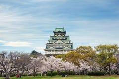 Osaka, Japonia przy Osaka kasztelem podczas wiosny czereśniowego okwitnięcia sezonu zdjęcia royalty free