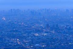 Osaka and Kobe at dusk, View from Shigi-Ikoma Skyline Stock Images