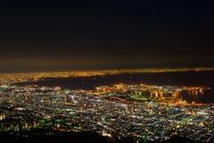 Osaka and Kobe at night, View from the Kukuseidai of Mt.Maya Stock Images