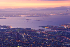 Osaka and Kobe in the twilight, View from the Kukuseidai of Mt.Maya Royalty Free Stock Images
