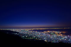 Osaka and Kobe in the twilight, View from the Kukuseidai of Mt.Maya Stock Photography