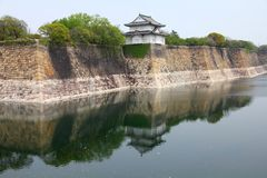 Osaka landmark. Osaka Castle moat and turret. Landmark of Japan Royalty Free Stock Photos