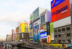 OSAKA -  MAY 3 : Dotonbori area with famous Glico signature in s Stock Photos