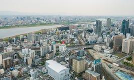 Osaka metropolis cityscape view. Osaka metropolis cityscape. Viewed 170 meters aboveground from Umeda Sky Building in Shin Umeda City, Floating Garden Royalty Free Stock Image