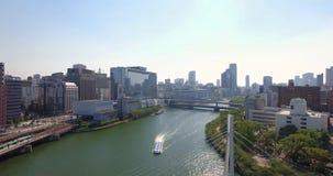 Osaka miasta linii horyzontu pejzażu miejskiego pochodzić Wyjawia łódkowatego antena strzał zbiory wideo