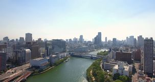 Osaka miasta linii horyzontu pejzażu miejskiego unosić się Wyjawia antena strzał zdjęcie wideo
