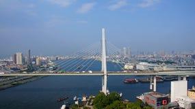 Osaka miasta panorame w Japonia zdjęcia royalty free