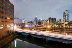 Osaka miasto przy nighttime zdjęcie stock