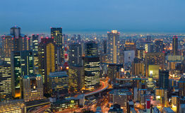 Osaka at night, Japan. View from Umeda Sky Building Stock Photography