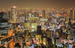Osaka by night. Osaka at night, Japan. View from Umeda Sky Building Royalty Free Stock Image