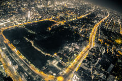 Osaka Night View from Abeno Harukas in Abeno Ward, Osaka, Japan. Royalty Free Stock Photo