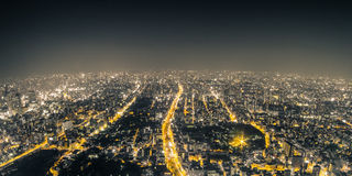 Osaka Night View from Abeno Harukas in Abeno Ward, Osaka, Japan. Royalty Free Stock Images