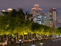 Osaka night skyline. Osaka skyline in the background with park trees in the foreground in the evening royalty free stock photo