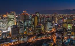 Osaka night skyline Stock Photo