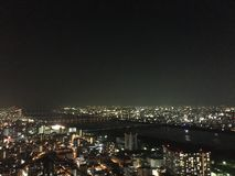 Osaka at night. Taken from the Umeda Sky building showing the former capital city of Japan, Osaka Royalty Free Stock Images