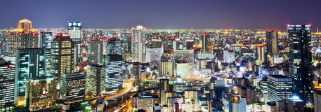Osaka. Night view of Osaka city skyline Stock Photos