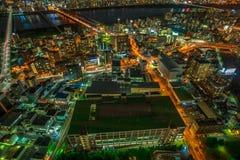 Osaka nightscape aerial Royalty Free Stock Images