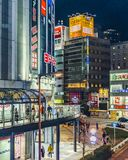 Osaka nocy Miastowa scena, Japonia zdjęcie stock