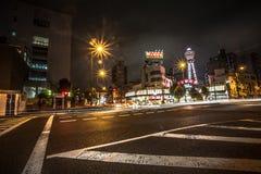 OSAKA - 11 NOVEMBRE: Vista della città di Osaka alla notte nel Giappone l'11 novembre 2015 Osaka è la città popolare del Giappone Fotografia Stock