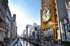 OSAKA - OCT 23: Dotonbori op 23 Oktober, 2012 in Osaka, Japan Royalty-vrije Stock Afbeeldingen