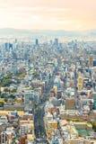 Osaka pejzaż miejski przy zmierzchem Fotografia Stock