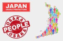 Osaka Prefecture Map Population Demographics e selo riscado do selo ilustração stock