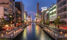 Osaka river long exposure stock photo