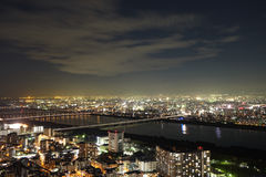 Osaka sky and cityscape night view. From Umeda Sky Building Royalty Free Stock Photography