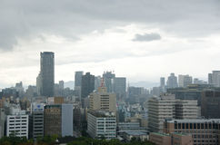 Osaka Skyline on a cloudy day Stock Image