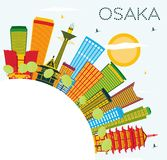 Osaka Skyline with Color Buildings, Blue Sky and Copy Space. Stock Image