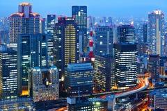 Osaka skyline at night Stock Image