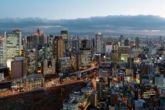 Osaka skyline at night Royalty Free Stock Photography