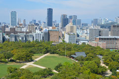 Osaka Skyline Seen From Osaka slott Japan 2016 Arkivfoton