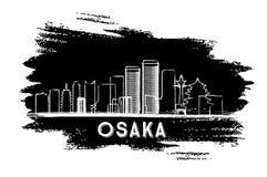 Osaka Skyline Silhouette Abbozzo disegnato a mano Fotografie Stock