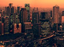 Osaka skyline at sunset Royalty Free Stock Image