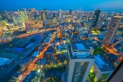 Osaka skyline sunset Stock Photos
