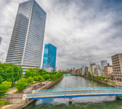 Osaka skyscrapers over the river Stock Photography