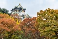 Osaka slott i tidig höstsäsong Arkivbild