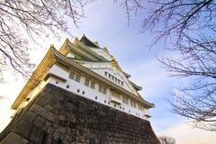 Osaka slott med inga bladträd Arkivbild