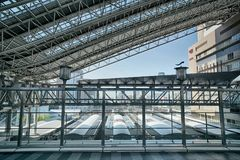 Osaka station under HD effect. Osaka station building complex from top to underground Stock Photos