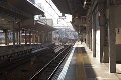 Osaka Station. OSAKA ,JAPAN - DEC 7 : Train approaching Osaka Station on December 7,2015 in Osaka,Japan. this is a major railway station in Osaka, Japan Stock Image