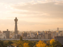 Osaka tower known as Tsutenkaku in evening time Royalty Free Stock Image