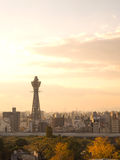 Osaka tower known as Tsutenkaku in evening time Royalty Free Stock Image