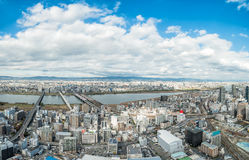 Osaka urban city and Yodo river from rooftop view. Japan Stock Image