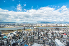 Osaka urban city and Yodo river from rooftop view. Japan Stock Photography
