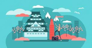 Osaka wektoru ilustracja Wyznaczający Japonia miasta turystyki tradycji symbole ilustracja wektor