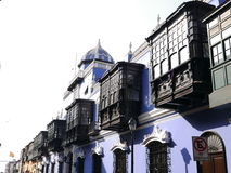 Osambela mansion in the historical center of Lima. Osambela mansion with balconies was built between 1803 and 1805 during the Peruvian Viceroyalty. It has five royalty free stock photography