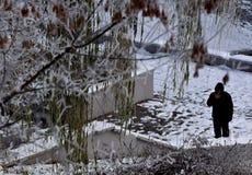 Osamotniona ciemna postać mężczyzna w parku zdjęcie stock